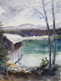 Bootshaus, Walchensee, Winter, Aquarell