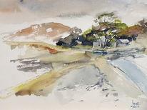 Schottland, Küste, Haus, Aquarell