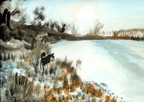 Landschaft, Auwaldsee, Zeichnungen, Sonnenaufgang