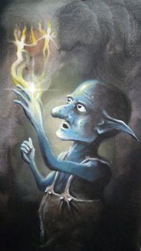 Zauber, Feuer, Kobold, Blau