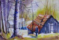 Aquarellmalerei, Haus, Wald, Natur