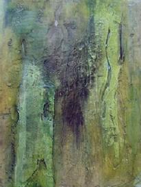Acrylmalerei, Pigmente, Marmormehl, Grün