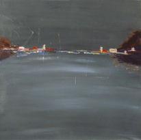 Acrylmalerei, Grau, Hochglanz, Horizont