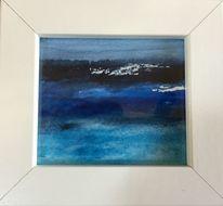 Aquarellmalerei, Türkis, Blau, Schwarz weiß