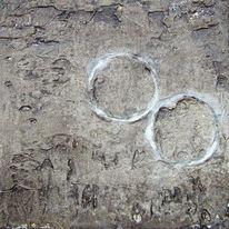 Acrylmalerei, Marmormehl, Mischtechnik, Zeichen