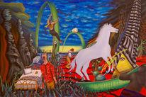 Landschaft, Surreal, Pferde, Bett
