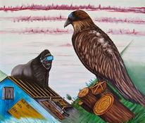 Landschaft, Gorilla, Greifvogel, Haus