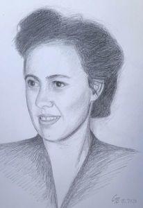 Erinnerung, Bleistiftzeichnung, Frau, Zeichnung