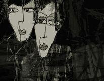 Gesicht, Blick, Dunkel, Paar