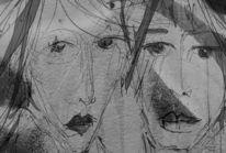 Paar, Ausdruck, Gesicht, Zeichnungen