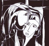 Zuneigung, Gesicht, Paar, Zeichnungen