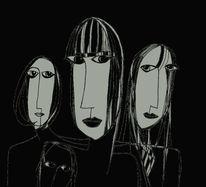 Skurril, Augen, Schwarzweiß, Zeichnungen
