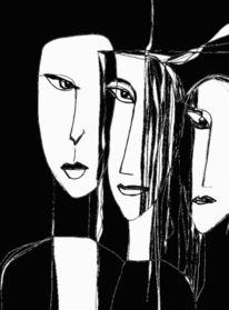 Gesicht, Surreal, Schwarzweiß, Zeichnungen