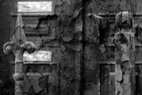 Zaun, Schwarzweiß, Zerfall, Tür