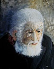 Alter mann, Winter, Portrait, Zeichnungen