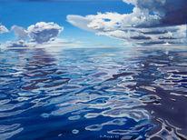 Blau, Spiegelung, Meer, Wolken
