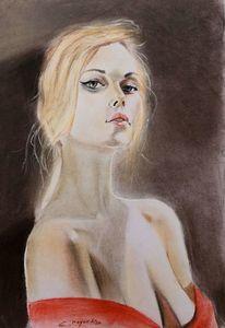 Iris, Mädchen, Blond, Malerei