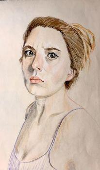 Mädchen, Portrait, Irritieren, Frau