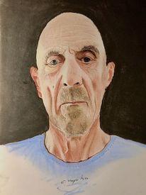 Alter mann, Onkel nolte, Portrait, Malerei