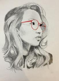 Rote brille, Mädchen, Portrait, Mischtechnik