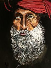 Portrait, Roter turban, Bart, Malerei