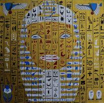 Skarabäus, Hieroglyphen, Kopf, Acrylmalerei