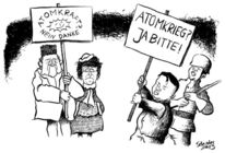Cartoon, Demo, Krieg, Karikatur