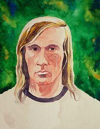 Erdball, Portrait, Fußball, Aquarellmalerei