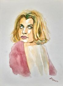 Malerei, Kinski, Aquarellmalerei, Nastassja