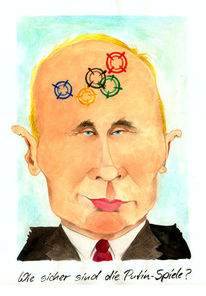 Putin, Karikatur, Spiel, Cartoon
