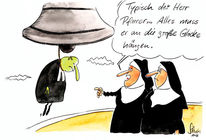 Nonne, Relegion, Pfarrer, Zeichnungen