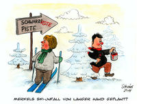 Cartoon, Angela merkel, Karikatur, Winter