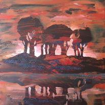 Baum, Licht, Warm, Acrylmalerei