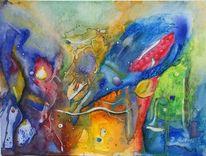Bunt, Aquarellmalerei, Gedanken, Universum