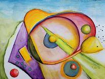 Aquarellmalerei, Blüte, Glocke, Bunt