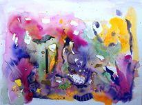 Aquarellmalerei, Bunt, Kontrast, Gedanken