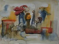 Aquarellmalerei, Figur, Mischtechnik, Fantasie