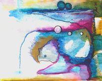 Unterirdisch, Figur, Malplatte auf keilrahmen, Aquarellmalerei