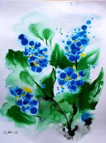 Strauß, Tuschmalerei, Blau, Blüte