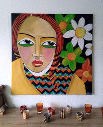 Rote haare, Blumen, Mädchen, Malerei