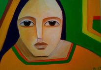 Orange, Grün, Malerei, Welt