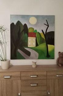 Baum, Haus, Mond, Malerei