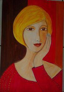 Rot, Lächeln, Glück, Malerei