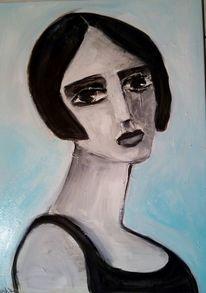 Schwarz, Kohlezeichnung, Gesicht, Malerei
