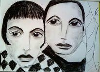 Kohlezeichnung, Trauer, Schwarz, Zeichnungen