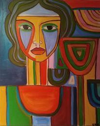 Grün, Orange, Blau, Malerei