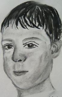 Kohlezeichnung, Gesicht, Portrait, Zeichnungen