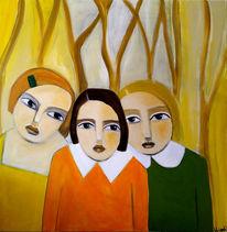 Schwestern, Kinder, Baum, Malerei
