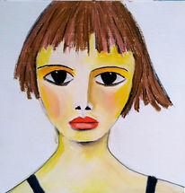 Rot, Mädchen, Pastellmalerei, Zeichnungen
