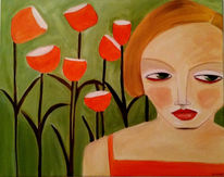 Mädchen, Mohn, Grün, Malerei